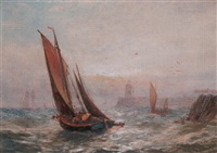herring boats leaving gorleston by robert malcolm lloyd