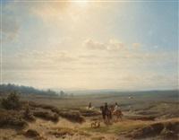 reiter in weiter landschaft by charles rochussen and cornelis lieste