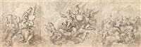 kompositionsstudie für eine wanddekoration mit musizierenden engeln und apotheose eines heiligen by austrian school (18)