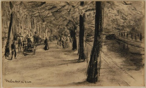 figures walking along a wooded promenade by max liebermann