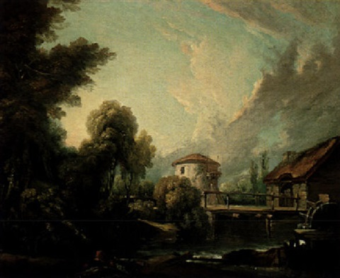 a wooded river landscape iwth a watermill and dovecote by françois