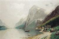 fjordlandschaft im morgendunst by carl bertold