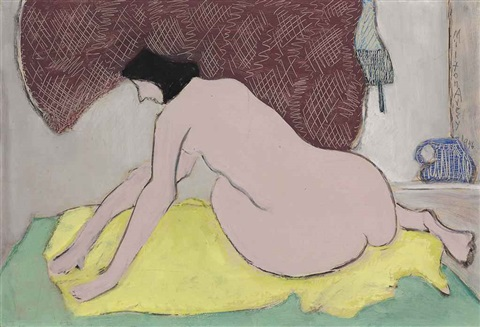 nude on a yellow blanket by milton avery