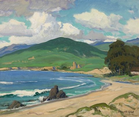 coastal scene with rolling hills and cumulous clouds by arthur hill gilbert