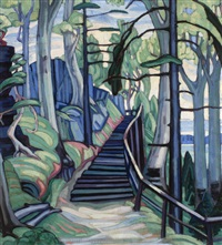 forest stairway (cliff path) by marion mildred dale scott
