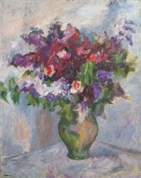 bouquet de roses et lilas by irène reno