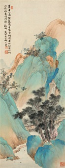青绿山水 立轴 设色纸本 by qi dakui