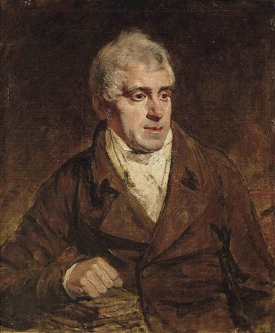 portrait of a gentleman traditionally identified as dr walcott in a brown coat his right arm resting on books by john opie