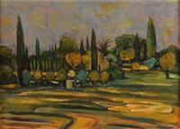 paysage aux cyprès by michel adlen
