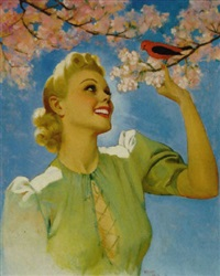 young woman standing under cherry tree attracts a bird by tom webb