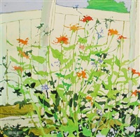 flowers against a white picket fence by claude a. simard