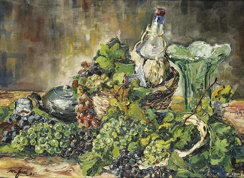 a still life with fruit and a bottle by jan zach