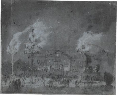 fireworks before a grand house view of greenwich rectoverso by egbert lievensz van der poel
