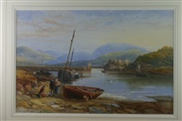 view of conwy with cob and castle from the deganwy shore with numberous figures and boats by james burrell smith