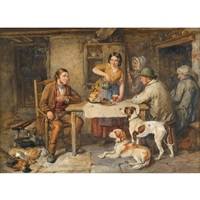 the hunters' meal by thomas faed
