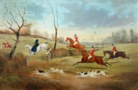 hunting scene (+ another; pair) by philip h. rideout