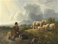 a shepherd and his flock resting in a summer landscape by leendert de koningh