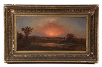 sunset over riverside mansion by martin johnson heade
