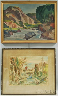 river gorge; figures by a canal (2 works) by roberto azzoni