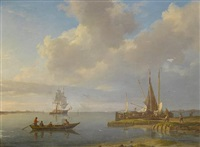 unloading barges on the banks of the scheldt, with a trading brig anchored in the river and the spires and towers of antwerp beyond by johannes hermanus koekkoek