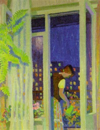 watering flowers on the balcony by yuri mikhailovich kruglov