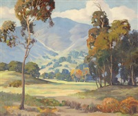 california foothill landscape with eucalyptus trees by george sanders bickerstaff