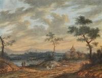 ländliche szene mit fluss und reiter by carl sebastian von bemmel