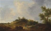 a dune landscape with travellers resting near a road by cornelis simonsz van der schalcke
