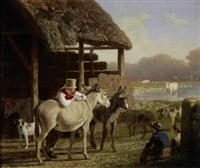 a visit to the farm by jacques-laurent agasse