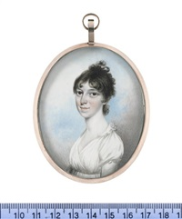 a lady, wearing white dress, her dark hair curled and upswept by nathaniel freese
