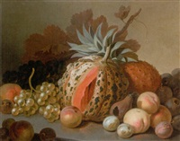 still life of fruit and a melon by moses haughton the elder