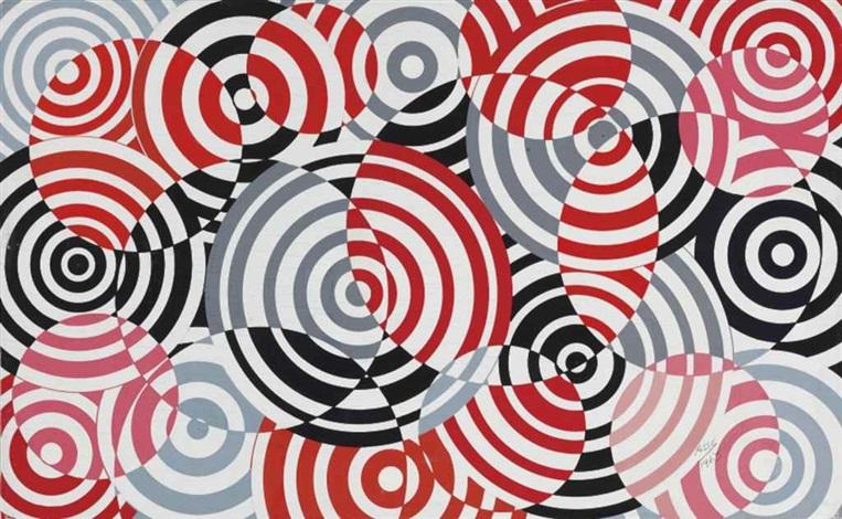interférences en rouge et gris no. 640 by antonio asis