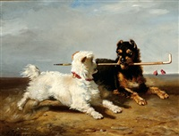 two dogs with a walking-stick by bernard de gempt