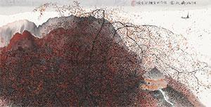湖山晚秋图 by zhu daoping