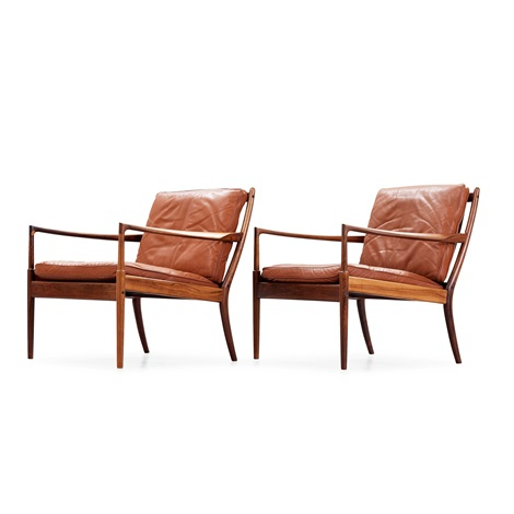 Gentil A Pair Of Ib Kofod Larsen U0027samsöu0027 Palisander And Brown Leather Armchairs By  Ib