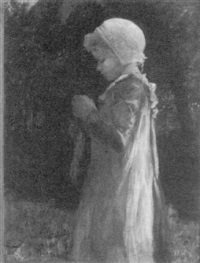 young girl darning a stocking by nannie homans