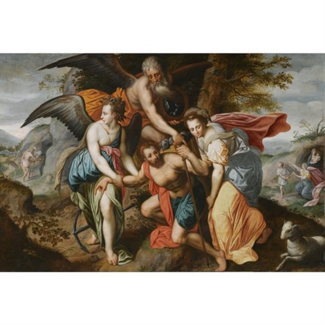 man carrying the burdens of time allegory of the four ages of man by jacob de backer
