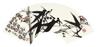 竹雀图 by lin fengsu
