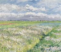 les champs, plaine de gennevilliers, en jaune et vert (study) by gustave caillebotte