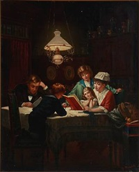 interior with a nurse reading for the family by heinrich august mansfeld