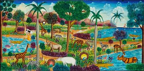 Haitian naive composition with exotic animal life by Y