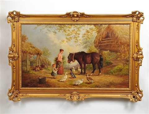 farm scene with mother and child feeding animals by henry charles bryant