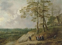 an extensive landscape with a bagpiper and other figures on a path, a farmhouse beyond by david teniers the younger and lucas van uden