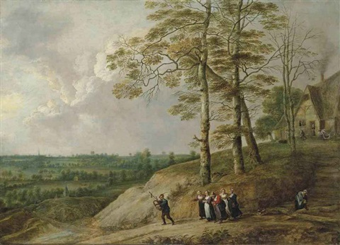 an extensive landscape with a bagpiper and other figures on a path a farmhouse beyond by david teniers the younger and lucas van uden