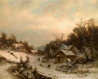village in winter by johann wilhelm lindlar