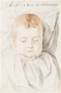 portrait of a child aged 32 weeks by hendrik goltzius