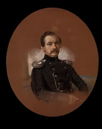 portrait of a military man (peter petrovich klokoff?), in a dark uniform with light epaulettes by friedrich randel