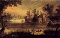 a river landscape with figures in a boat and castle beyond by claes dircksz van der heck