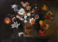 tulips, chrysanthemums, convolvulus, and other flowers in a bronze urn on a stone plinth by josé de arellano