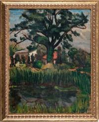 pejzaż z drzewem (+ portret kobiety, verso) by norbert nadel